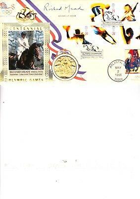 Richard Mead Hand Signed Olympic Games Fdc With Replica 1908 Gold Medal Inset