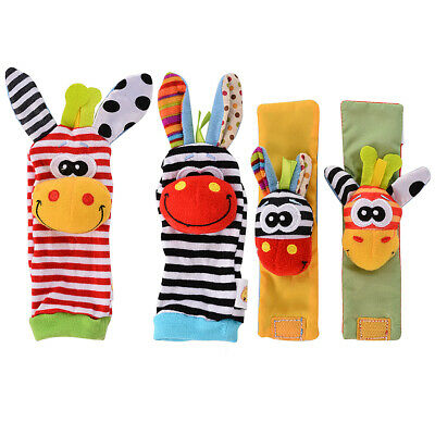 4 x Newest Wrist Rattles Hands Foots finders Baby Infant Soft Toy Developmental