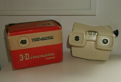 Rare Viewmaster Model E Viewer - Made In Belgium - Cream - Boxed  G172