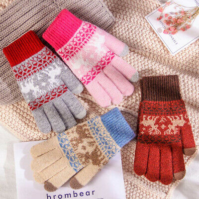 Elk Knitted Gloves Thicken Warm Full Finger Touch Screen Mittens Decor Lovely