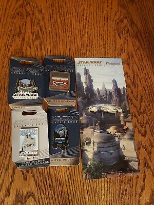4 Pins Disney Star Wars Galaxy's Edge Landing Opening Day Disneyland Pin LE &Map