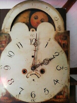 Antique English 8 Day Striking Moonphase Longcase Grandfather Clock Movement