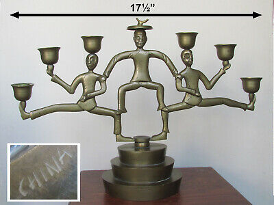 Chinese brass colonial coolie style servant waiters candle holder ca 1880-1911
