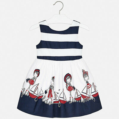 Mayoral Girls Striped Dress in Navy (03941) Aged 2-8 Years