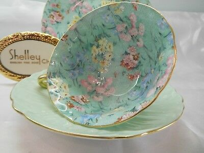 "Shelley MELODY CHINTZ  FOOTED OLEANDER  CUP, SAUCER AND 8"" PLATE  -  GOLD TRIM"