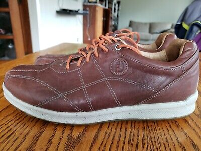 FootJoy Versaluxe brown Leather SPIKELESS Golf Shoes MENS SZ 9.5 M VERY NICE!