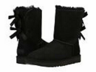 UGG Bailey Bow II 1016225 Classic Short Black Boots Size 10 Authentic
