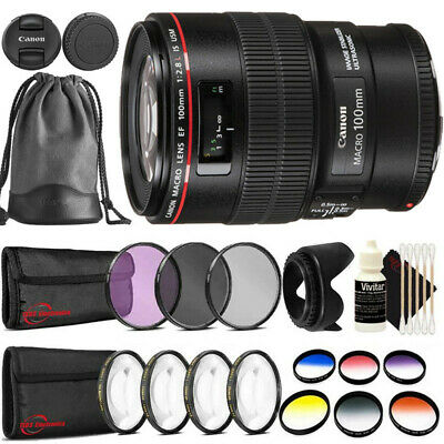Canon EF 100mm f/2.8L Macro IS USM Lens + Filter Accessory Kit