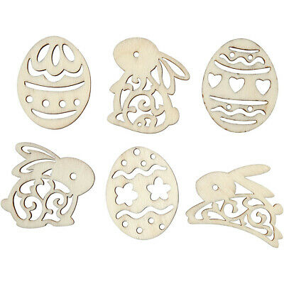 Wooden Outline Shapes Approx 4cm x 3mm - Eggs & Bunnies