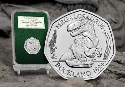 DINOSAUR 50p Coin 2020 MEGALOSAURUS IN CAPSULE ROYAL MINT NEW  IN HAND READY NOW