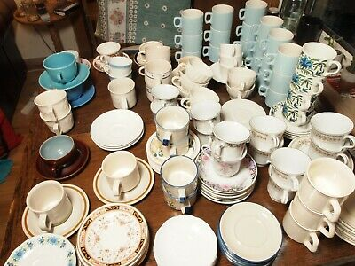 Vintage Mismatched Cups and Saucers (approx 70): Job Lot / Wedding / Party / Tea