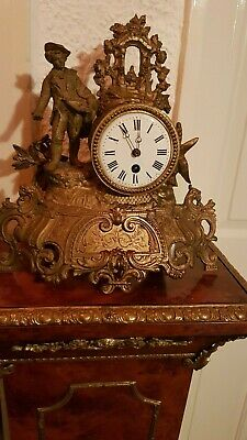 Antique French 30 Hour Gilt Mantle Time Piece