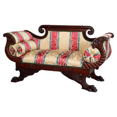 Antique Classical American Empire Carved Flame Mahogany Settee, circa 1830