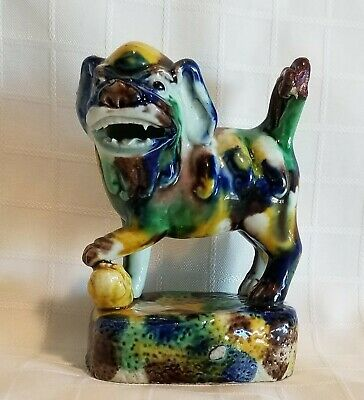 Antique CHINESE Sancai Glazed Pottery Foo Lion Dog Water Dropper