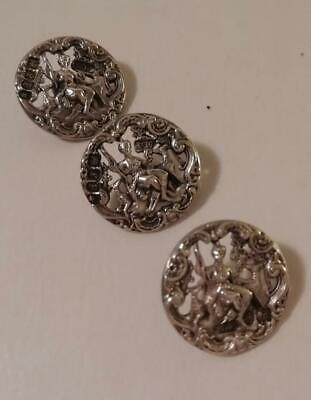 A Set of Three Antique Silver Buttons w. 'Diana' Figure : London 1901