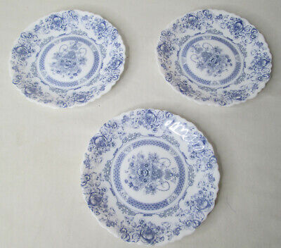 "Set of 3 Arcopal Honorine Salad Bread Plates 7.25"" Made in France Blue White Vtg"