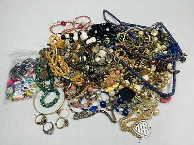 Huge Mix Vintage Now Jewelry Estate Lot 3Lbs 10oz Costume/Odds & Ends Craft