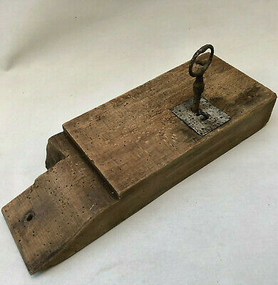 ANTIQUE 19th CENTURY FRENCH SOLID WOOD DOOR RIM LOCK & KEY IN WORKING CONDITION