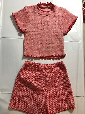Vintage 1970's Two Pieces Shorts And Sweater Red Hereingbone Grants Girls Sz 7-8