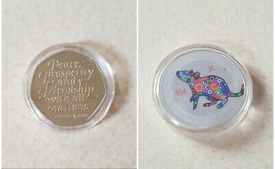 2020 BREXIT 50p plus 2020 YEAR of the RAT COMMEMORATIVE COIN