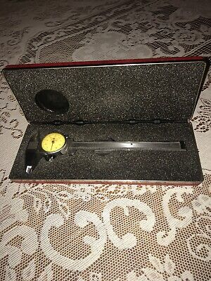 "Vintage Starrett 6"" Inch No. 120 .001 Dial Caliper Machinist Tool with case"