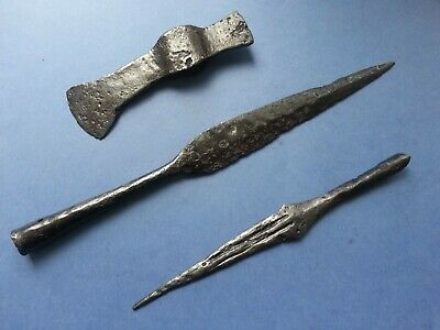 Ancient axe & spear  Set of ancient weapons 8 - 11th century. Vikings-Slavs