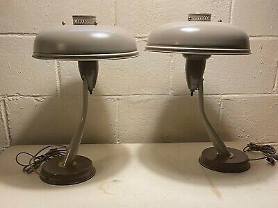 Vtg Flying Saucer Art Deco Machine Age Mid Century Modern Table Desk Lamps