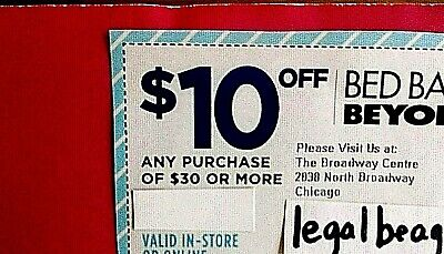 (10) BED BATH AND & BEYOND - $10 OFF $30 - Save $100! - 3/30/20 - FAST SHIP!!!