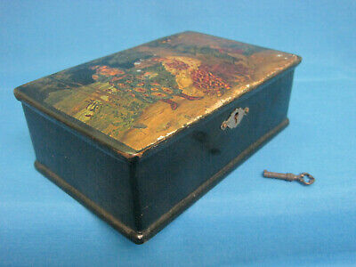 Wooden Box Casket. Antique. Lacquer Hand Painted. Russia 19th century.