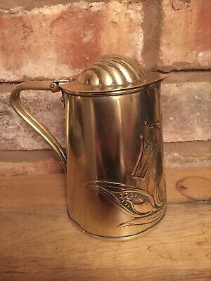 Beautiful Antique Arts & Crafts Hinged Lidded Brass Hand Beaten Jug