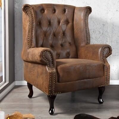 Cagü Classy Design Chesterfield Wing Chair Seat [Winchester] Braun Chaise Lounge