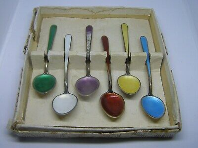 Vintage Guilloche Set of 6 Sterling Demitasse Shell Pattern Spoons N M Thune Nor