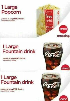 2 AMC Large Drinks, and 1 AMC Large Popcorn GREAT DEAL!