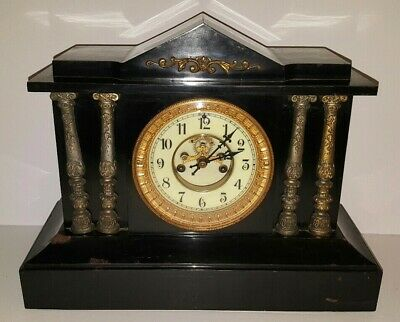 Antique Waterbury Regulator Clock Black Iron Fancy Movement Victorian Mantel VTG