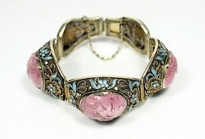 Fine Antique Chinese Enamel & Silver Filigree Tourmaline Bracelet