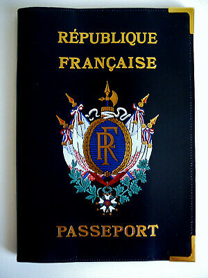 NEUF Etui cuir Protege Passeport Francais VINTAGE Leather Passport Cover NEW
