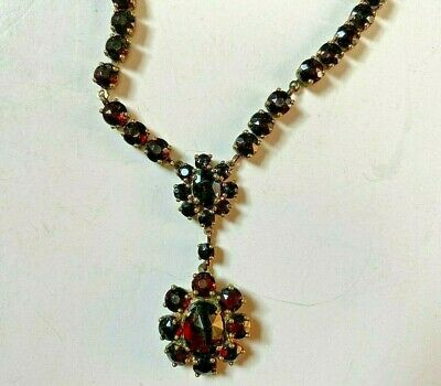 OLD Antique VICTORIAN GARNET NECKLACE Faceted Stones DROP PENDANT Edwardian RED