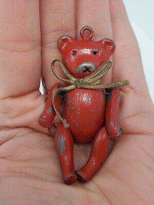 Antique Dollhouse MINIATURE JOINTED TEDDY BEAR Metal Mignonette Doll Victorian