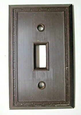 Sem Co 1801 USA Brown Bakelite Antique Switch Wall Plate Cover Fine Lines Dots