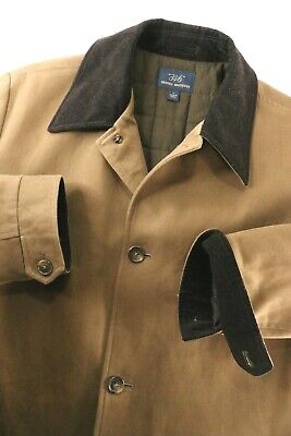 Brooks Brothers Twill Cotton Car Coat Jacket Brown Corduroy Collar EUC Mens L