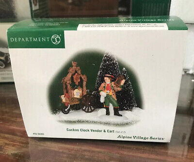 Dept 56 - Alpine Village - Cuckoo Clock Vendor & Cart - NIB