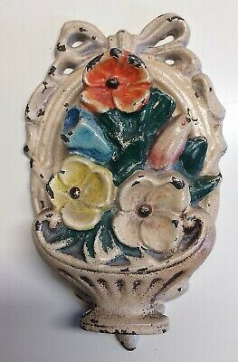 Antique~CAST IRON Figural FLOWER BASKET Multicolor DOOR KNOCKER~Unknown Maker