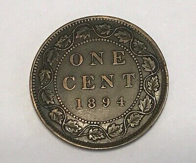 "1894 ""Thin 4"" Canada One Large Cent very nice"
