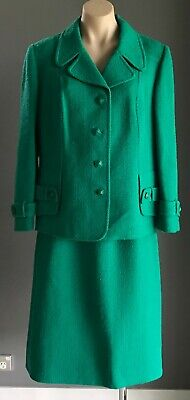 SUITMASTER Vintage Jade Green Wool Mix 2 Piece Suit - Jacket & Skirt Size 18