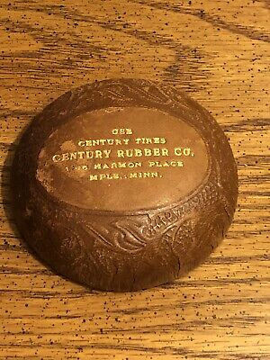 """Vintage Century Rubber Co. Tires Advertising Leather 3"""" Paperweight Minneapolis"""