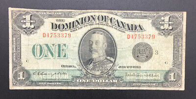 1923 Dominion Canada $1 Lg Size Currency Campbell Sellar Black Seal banknote