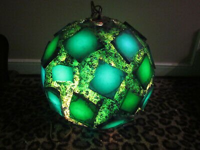 Vintage Mid Century Modern Lucite Chunky Rock Candy Green Swag Lamp