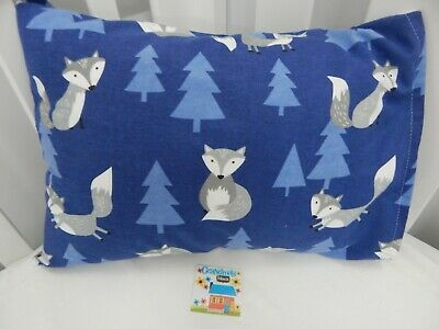 Pillowcase Mr Fox Blue Flannelette Cot Toddler Size  100% Cotton Snuggly Warm!