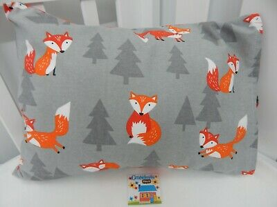 Pillowcase Mr Fox Grey Flannelette Cot Toddler Size  100% Cotton Snuggly Warm!
