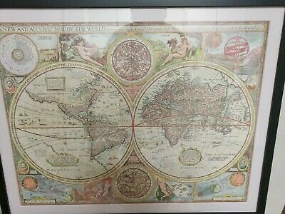 Double Hemisphere Antique Map 1651 Atlases Globe Geography Cartography Rare